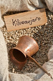 Kilimanjaro coffee. Image of a sack of raw coffee beans from Kilimanjaro Royalty Free Stock Images