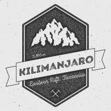 Kilimanjaro in Eastern Rift, Tanzania outdoor. Kilimanjaro in Eastern Rift, Tanzania outdoor adventure logo. Pennant expedition vector insignia. Climbing Stock Photography