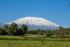 Kilimanjaro mountain. Above mais corn field in Africa, Kenya and Tanzania stock photography