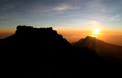 Kilimanjaro's Sunrise. Sunrise from top of Kilimanjaro (5.895 m) - highest mountain in Africa. Tanzania Royalty Free Stock Image