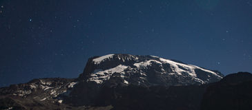 Kilimanjaro view from Machame route under the stars at night Royalty Free Stock Images