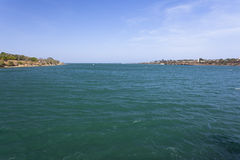 Kilindini Bay in Mombasa, Kenya. View from the Likoni ferry to the open sea in Mombasa, Kenya Stock Image