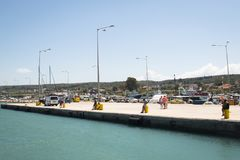 Ferry port of Kilini, Greece. KILINI, GREECE - AUGUST 2017: The Ferry port in Kilini in Greece with ferries going to Kefalonia island Stock Photography