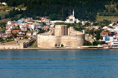 Kilitbahir Castle in Canakkale,Turkey. The view from Asia on Europe Royalty Free Stock Photos