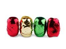Kilka świątecznych dekoracj różni kolory Odizolowywający na bielu Zdjęcia Stock
