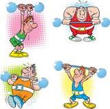 Kilka atlety z barbell ilustracji
