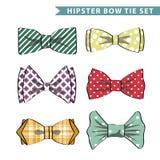 Kilka barwili łęku krawat z prostym wzorem Obraz Royalty Free
