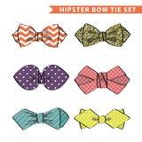 Kilka barwili łęku krawat z prostym wzorem Set Zdjęcia Stock