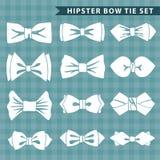 Kilka białe sylwetki łęku krawat Modniś moda Zdjęcia Stock