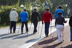 Kilka chińczycy chodzi przez chodzącego pasa ruchu w Pekin lasu Olimpijskim parku Obraz Stock