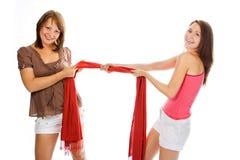 kilka ciągnienia szalik czerwona kobieta fotografia royalty free