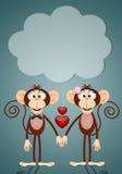 Kilka dwa małpy w miłości Zdjęcie Royalty Free