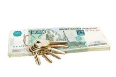 Klucze na rubla pieniądze Obraz Royalty Free