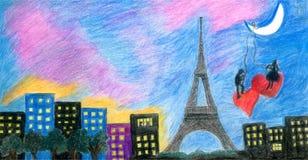 Kilka kochankowie pod blaskiem księżyca w Paryż ilustracji
