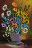Kilka kolorowi kwiaty przy stołem w purpurowej wazie ilustracji