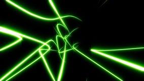 Kilka linii zielony abstrakcjonistyczny łączenie i wiruje Czarny tło royalty ilustracja