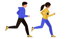 Kilka mężczyzna i kobieta robi sportom wpólnie Ludzie uczestniczą w działających rywalizacjach również zwrócić corel ilustracji w ilustracji
