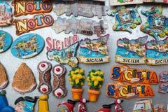 Kilka pami?tki reprezentuje r??norodnych typowych produkty Sicily zdjęcie royalty free
