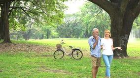 kilka park starszy uśmiecha porozmawiać zbiory