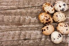 Kilka przepiórek jajka na starym drewnianym tle z kopii przestrzenią dla twój teksta Odgórny widok Obrazy Royalty Free