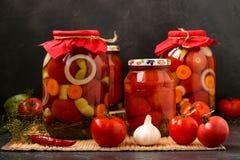 Kilka s?oj?w pomidory lokalizuj? na stole na ciemnym tle, fotografia stock