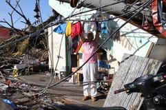 Kilka tysięcy lewy bezdomny w następstwie tajfunu Haiyan Zdjęcia Stock