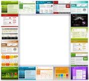 Kilka Webdesign szablony z tekst przestrzenią dla Reklamować ilustracja wektor