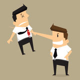 Kill colleague the end of businessman long nose Royalty Free Stock Images
