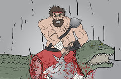 Kill crocodile Stock Photo
