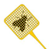 Kill fly. Catching a fly witch yellow swatter Royalty Free Stock Photo