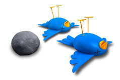 Kill Two Birds With One Stone. Two cartoon style blue birds with orange beaks apparently dead and belly-up next to a grey stone vector illustration