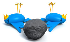 Kill Two Birds With One Stone. Two cartoon style blue birds with orange beaks apparently dead and belly-up next to a grey stone  with a literal depiction of the Royalty Free Stock Photos