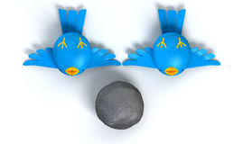 Kill Two Birds With One Stone. Two cartoon style blue birds with orange beaks apparently dead and belly-up next to a grey stone with a literal depiction of the stock illustration