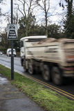 Kill your speed sign. With lorry seemingly speeding past Stock Photography