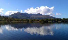 Killarney Island view from Ross Castle across the lake Killarney Kerry. With blue skies and a few white clouds royalty free stock photography