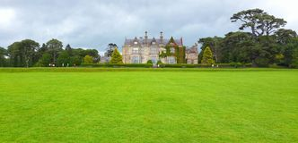 Killarney national park castle. Field grass green amazing huge trees travel traveling traveler tour tourism tourist vacation holiday ireland growth europe clouds Royalty Free Stock Image