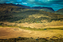 Killarney National Park landscape. Grassland and mountains along the Ring of Kerry road,  Killarney National Park, Ireland Stock Image
