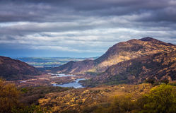 Killarney National Park landscape. Mountains and lakes in the Killarney National Park, Ireland Stock Image