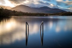 Killarney National Park. Sunset at Lough Leane in Killarney National Park stock image