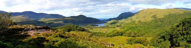 Killarney valley panorama. Panorama of Killarney National Park, in County Kerry, Ireland Stock Photography