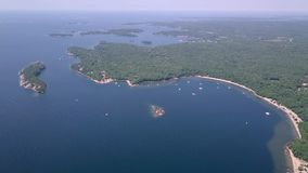 Killbear provincial park. Aerial view of the Georgian bay. Flying with drone above the Georgian bay of Huron lake stock video footage