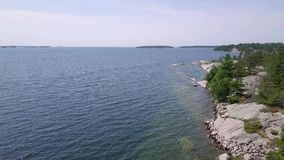 Killbear provincial park. Aerial view of the Georgian bay. Flying with drone above the Georgian bay of Huron lake stock video