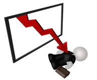Killed by down chart trend. Illustration Stock Photo