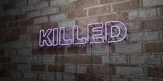 KILLED - Glowing Neon Sign on stonework wall - 3D rendered royalty free stock illustration Stock Images