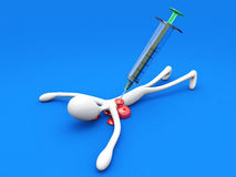 Killed by Medicine. A cartoon figure killed by a giant syringe. 3D rendered Illustration Stock Photo