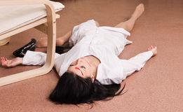 Killed nurse lying on the floor (imitation) Stock Photo