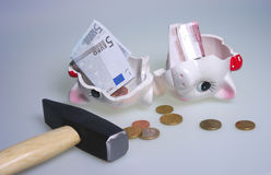 Killed piggy bank Royalty Free Stock Photography