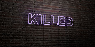 KILLED -Realistic Neon Sign on Brick Wall background - 3D rendered royalty free stock image Royalty Free Stock Photo