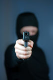 Killer. Men with handgun close up stock photography