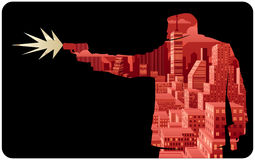Killer 2. Abstract illustration of man shooting with pistol Stock Photos